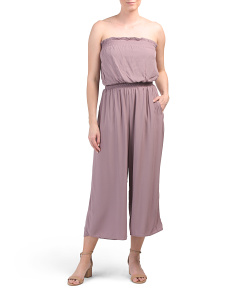 Juniors Crinkled Tube Jumpsuit