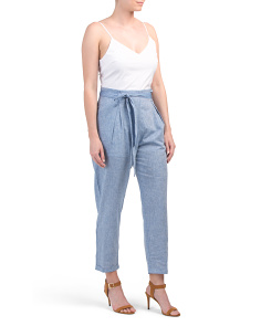 Juniors Knit Top With Linen Blend Cuffed Jumpsuit