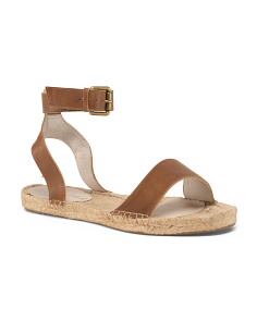 Flat Leather Espadrille Sandals