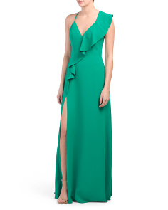 Single Ruffle Cross Back Gown