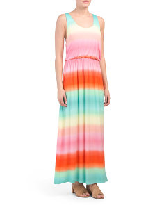 Scoop Neck Tie Dye Maxi Dress