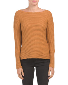 Textured Boat Neck Sweater