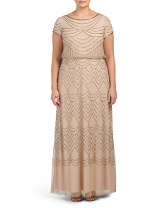 Plus Blouson Beaded Gown