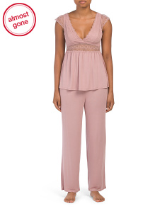 Cami Pj Set With All Over Lace Bodice