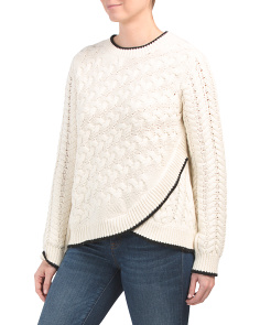 Cable Knit Overlay Sweater