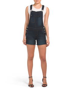 Juniors Dark Wash Shortalls