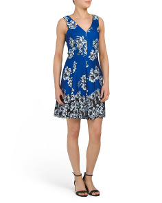 V-neck Printed Scuba Dress