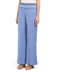 Juniors Smocked Waist Linen Blend Chambray Pants