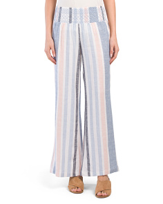 Juniors Smocked Waist Linen Blend Stripe Pants