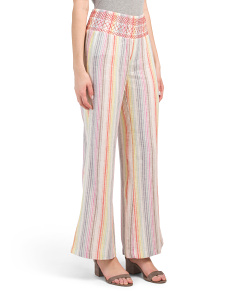 Juniors Smocked Waist Stripe Linen Blend Pants