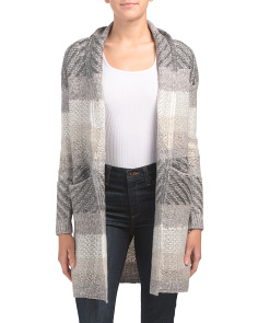 Drape Neck Cardigan With Tonal Stripes