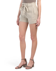 Juniors Paper Bag Waist Linen Blend Shorts