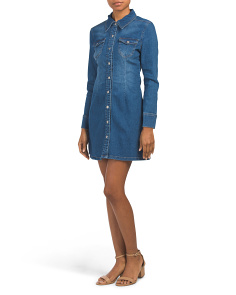 Juniors Long Sleeve Denim Dress