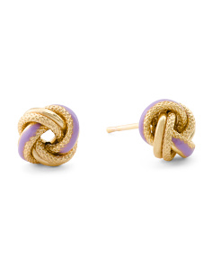 Made In Italy 14k Gold And Lilac Enamel Love Knot Earrings