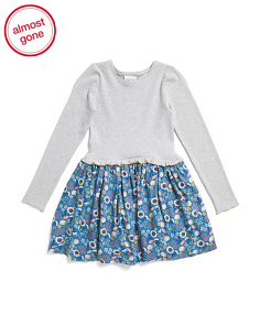Little Girls Dress With Printed Twill Skirt