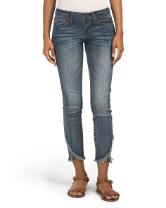 Juniors Jeans With Frayed Step Hem