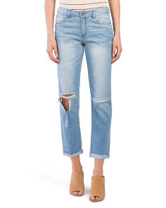 Juniors Cropped Destructed Jeans