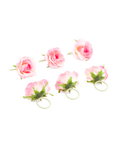 Set Of 6 French Rose Napkin Rings