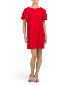 Petite Made In Usa Crepe A-line Dress