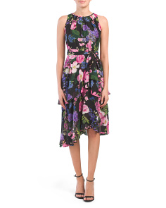 Petite Asymmetric Tiered Floral Print Dress