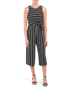 Petite Tie Waist Striped Jumpsuit