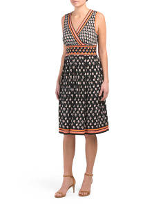 Daisy Leaf Print Midi Jersey Dress