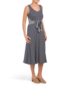 Sleeveless Striped Wrap Front Knit Dress