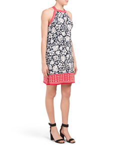 Palm Orchid Print Jersey Dress