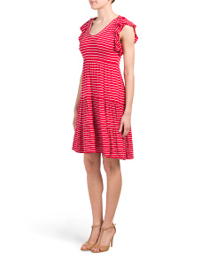 Stripe Knit Shoulder Tie Dress