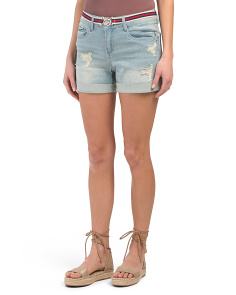 Juniors Clio Light Wash Belted Shorts