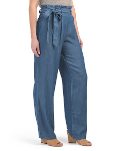 Juniors High Waist Denim Paper Bag Pants