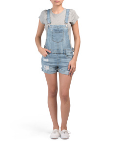 Juniors Light Wash Shortalls