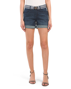 Juniors Maria Dark Wash Belted Shorts