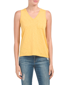 Pima Cotton V-neck Tank With Pocket