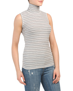 Ribbed Striped Mock Neck Sleeveless Top