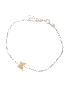 Made In Italy Sterling Silver 2 Tone Butterfly Bracelet