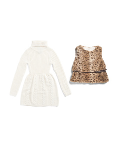 Little Girls Sweater Dress With Faux Fur Leopard Vest