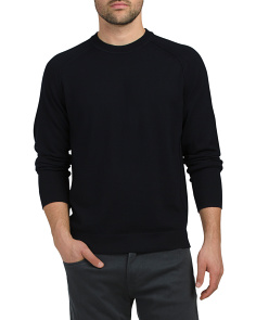 Seamed Crew Neck Merino Wool Sweater