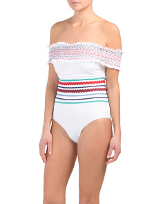Smocked Off The Shoulder One-piece Swimsuit