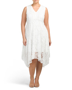 Plus V Neck Lace Fit And Flare Dress