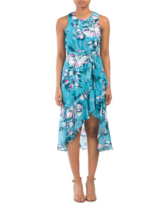 Petite Floral Belted Sleeveless Dress