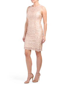 Petite Made In Usa Lace Sheath Dress