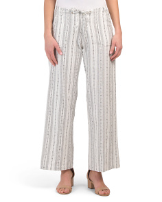 Striped Wide Leg Linen Blend Pants