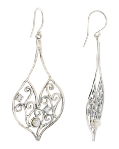Made In Israel Sterling Silver Pearl And Cz Filigree Earring