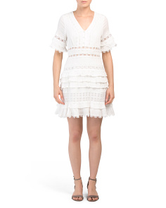Petite Ruffled Lace Trim Dress