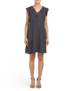 Petite V Neck Polka Dot Dress