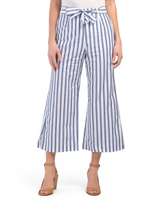 Striped Paper Bag Tie Waist Capris