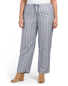 Plus Striped Drawstring Pants