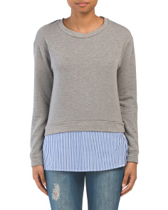 Crew Neck Top With Striped Underlay