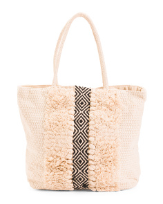 Straw Pattern Front Tote